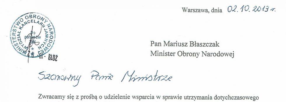 Pismo byłych żołnierzy doMinistra Obrony Narodowej.