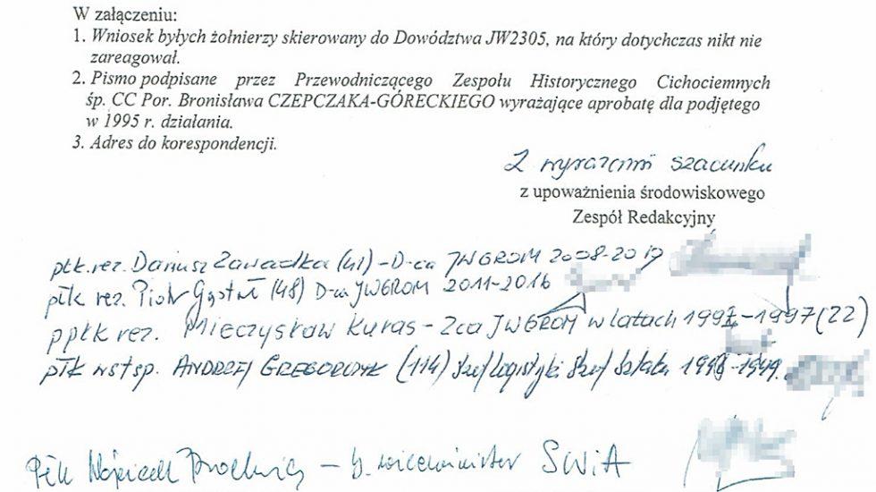 Podpisy pod protestem w sprawie nadania imienia jednostce.