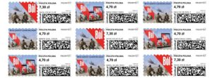 """Książka """"Ból"""" na znaczkach pocztowych"""