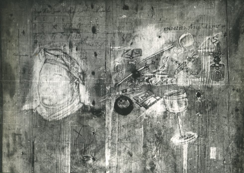 Zdjęcie rysunków nadrzwiach celi nr21 poobróbce graficznej.